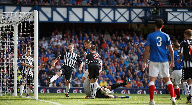 David Templeton (hidden) scores his second and Rangers fourth goal