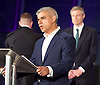 Mayor of London and London Assembly results announcement at City Hall, London, Great Britain <br /> 6th May 2016 <br /> <br /> <br /> Sian Berry - Green Party <br /> <br /> Paul Golding - Britain First - with back to camera <br /> <br /> Zac Goldsmith - Conservative<br /> <br /> Lee Harris - CISTA<br /> <br /> Sadiq Khan - Labour <br /> <br /> Ankit Love - One Love Party<br /> <br /> Caroline Pidgeon - Lib Dems<br /> <br /> Sophie Walker - Women&rsquo;s Equality Party <br /> <br /> Peter Whittle - UKIP <br /> <br /> The winner was Sadiq Khan who is appointed the new mayor of London <br /> <br /> <br /> <br /> Photograph by Elliott Franks <br /> Image licensed to Elliott Franks Photography Services