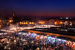 Place Djemaa el Fna with Koutoubia Mosque at night.