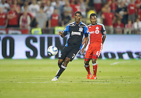 27 August 2011: San Jose Earthquakes midfielder Khari Stephenson #7 and Toronto FC midfielder Julian de Guzman #6 in action during a game between the San Jose Earthquakes and Toronto FC at BMO Field in Toronto..The game ended in a 1-1 draw.