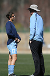 North Carolina's Yael Averbuch (17) and goalkeeping coach Chris Ducar (r) on Saturday, March 3rd, 2007 on Field 1 at SAS Soccer Park in Cary, North Carolina. The Duke University Blue Devils played the University of North Carolina Tarheels in an NCAA Division I Women's Soccer spring game.