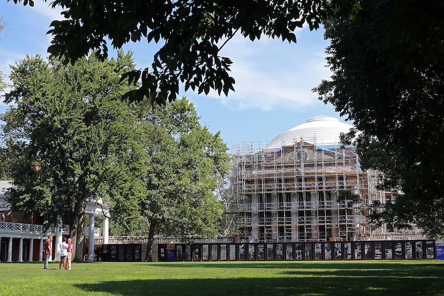 The Rotunda under construction at the University of Virginia in Charlottesville, VA. Photo/Andrew Shurtleff