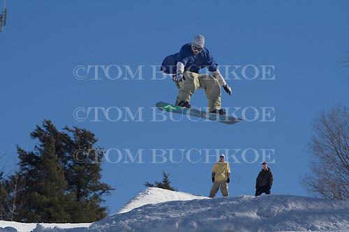 Snowboarder at Marquette Mountain in the Upper Peninsula city of Marquette, Michigan.