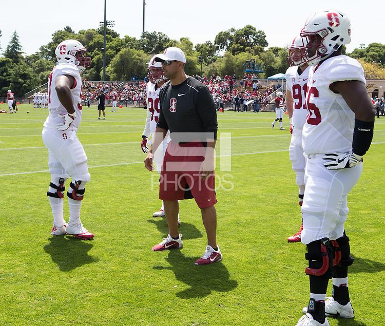 Stanford, CA - April15, 2017:  Coach Diron Reynolds at Cagan Stadium.