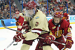 07 APR 2012:  Brian Dumoulin (2) of Boston College and Derek Graham (22) of Ferris State University battle for position during the Division I Men's Ice Hockey Championship held at the Tampa Bay Times Forum in Tampa, FL.  Boston College defeated Ferris State 4-1 to win the national title.  Matt Marriott/NCAA Photos