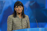 March 14, 2013  (National Harbor, Maryland)  South Carolina Governor Nikki Haley introduces Mitt Romney at the 2013 Conservative Political Action Conference (CPAC) in National Harbor, MD.  (Photo by Don Baxter/Media Images International)
