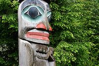 Detail on Raven Stealing the Sun totem pole, downtown Ketchikan, Alaska