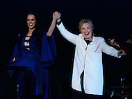 Philadelphia, PA - November 5, 2016: Democratic presidential candidate Hillary Clinton and singer Katy Perry Greet supporters during a GOTV rally at the Mann Center in Philadelphia, PA, November 5, 2016, days before the November 8th election against republican candidate Donald Trump. (Photo by Don Baxter/Media Images International)