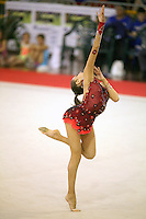 Evgeniya Kanaeva of Russia  expresses on way to winning senior All-Around at 2006 Trofeo Cariprato in Prato, Italy on June 17, 2006.  (Photo by Tom Theobald) Comment: Leotard from Irina Tchachina and style very similiar...