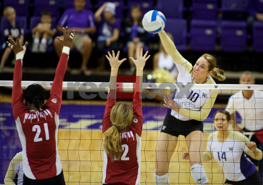 The University of Washington Women's volleyball team defeated Washington State University 3-0 at Hec Edmundson Pavilion in Seattle on Friday October 8, 2010.  (Photography By Scott Eklund/Red Box Pictures)