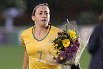 27 April 2008: Heather Garriock (AUS) received flowers during a pregame ceremony commemorating her 100th cap. The United States Women's National Team defeated the Australia Women's National Team 3-2 at WakeMed Stadium in Cary, NC in a women's international friendly soccer match following a brief delay for lightning.