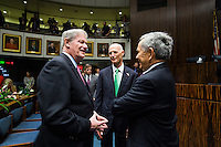 TALLAHASSEE, FLA. 3/4/14-Sen. John Thrasher, R-St. Augustine, left, talks with Gov. Rick Scott and former Senator and Republican Party Chairman Van Poole, right, during the opening day of the legislative session, March 4, 2014 at the Capitol in Tallahassee.<br /> <br /> COLIN HACKLEY PHOTO