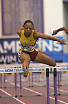 10 MAR 2012:   Chanel Parker of Cal State Dominguez Hills takes sixth place in the finals of the 60 meter hurdles during the Division II Men's and Women's IndoorTrack and Field Championship held at Myers Fieldhouse on the campus of Minnesota State University, Mankato, in Mankato, MN.  Brian Fowler/NCAA Photos