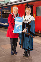 Pictured at the launch of the new Castle Line Timetable at Nottingham Station, from left are Sandra Littlewood, Sheriff's Lady and the Sheriff of Nottingham Cllr Jackie Morris