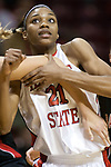 06 December 2006: Kenyatta Shelton gets checked at the lane on a free throw. In a non-conference game, the Cardinals of Ball State visited the Redbirds home at Redbird Arena in Normal Illinois on the campus of Illinois State University.<br />