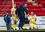 St Johnstone v Kilmarnock....02.04.11  .Frazer Wright dislocates his shoulder in a challenge with Michael Duberry and Danny Invincibile.Picture by Graeme Hart..Copyright Perthshire Picture Agency.Tel: 01738 623350  Mobile: 07990 594431