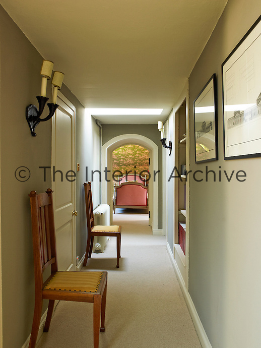 The corridor leads to one of the single bedrooms in Wilson Kerr's restored Georgian country house