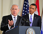 Prime Minister Benjamin Netanyahu of Israel makes remarks as United States President Barack Obama looks on in the East Room of the White House following a series bi-lateral meetings in Washington, D.C. on Wednesday, September 1, 2010.  The statements are in advance of the opening of the first direct talks in two years between Israel and the Palestinian Authority scheduled to begin at the State Department in Washington, D.C. tomorrow.  .Credit: Ron Sachs / Pool via CNP.(RESTRICTION: NO New York or New Jersey Newspapers or newspapers within a 75 mile radius of New York City)