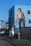 Jim Morrison mural facing alley in Venice Beach, California