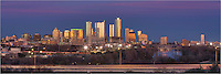 Late in the evening in February, the fading sunlight lights up the buildings of the Austin skyline in this panorama taken from the Zilker Park Clubhouse. To the rigth is Lady Bird Lake and in front of downtown is teh Missouri-Pacific Highway (MoPac to Austinites).