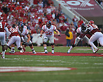 Ole Miss center Evan Swindall (56) against the Arkansas Razorbacks at Reynolds Razorback Stadium in Fayetteville, Ark. on Saturday, October 23, 2010.