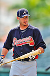 13 March 2012: Atlanta Braves infielder Joe Terdoslavich awaits his turn in the batting cage prior to a Spring Training game against the Miami Marlins at Roger Dean Stadium in Jupiter, Florida. The two teams battled to a 2-2 tie playing 10 innings of Grapefruit League action. Mandatory Credit: Ed Wolfstein Photo