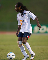 Mustapha Riga of the Bolton Wanderers advances the ball.  The Charlotte Eagles currently in 3rd place in the USL second division play a friendly against the Bolton Wanderers from the English Premier League.