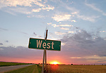 August sunset and clouds south of Wichita, at the intersection of West and 103rd Street South.