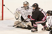 Nina Riley (PC - 1), Colleen Murphy (NU - 10) - The Northeastern University Huskies defeated the visiting Providence College Friars 8-7 on Sunday, January 20, 2013, at Matthews Arena in Boston, Massachusetts.