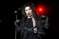 Pete Burns of Dead or Alive<br /> Performing at the PWL Hit Factory Live, o2 Arena, London, England, UK, <br /> 21st December 2012.<br /> music live on stage concert gig half length black dress cut out away gloves make-up <br /> CAP/MAR<br /> &copy; Martin Harris/Capital Pictures /MediaPunch ***NORTH AND SOUTH AMERICAS ONLY*** /MediaPunch ***NORTH AND SOUTH AMERICAS ONLY***