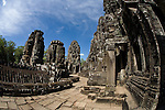 The Bayon Temple in the ancient city of Angkor Thom, in northwestern Cambodia, near Siem Reap.
