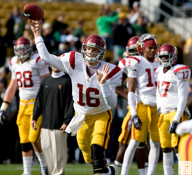 10/17/09 - South Bend, IN:  USC quarterback Mitch Mustain warms up before USC's game against Notre Dame at Notre Dame Stadium on Saturday.  USC won the game 34-27 to extend its win streak over Notre Dame to 8 games.  Photo by Christopher McGuire.