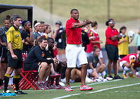 Maryland head coach Jonathan Morgan yells to his team during the game at Ludwig Field in College Park, MD.  Maryland defeated Wake Forest, 1-0.