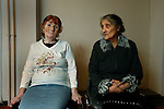 Sisters, Sinti holocaust survivors, Hamburg 2009..The Deportation of Jews, Roma and Sinti in Hamburg 1940-45. Roma and Sinti Holocaust survivors. Conference and exhibition. Roma Holocaust &quot;Porrajmos&quot;, the Roma word means literally &quot;the devouring&quot;, where it is estimated that between 500 thousand and one and a half million Roma were exterminated across Germany, Poland, ex-Yugoslavia and Czechoslovakia during the 1930s and 1940s. The Roma were the first race to be subjected to experimentation by the Nazis, as part of Joseph Goebbels' 'Final Solution'.