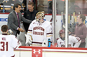 Joe Woll (BC - 31), Marty McInnis (BC - Assistant Coach), Bert Lenz (BC - Director-Sports Medicine), Ryan Edquist (BC - 35), Matthew Gaudreau (BC - 21), Chuck Van Kula (BC - Student Manager) - The Boston College Eagles defeated the visiting Providence College Friars 3-1 on Friday, October 28, 2016, at Kelley Rink in Conte Forum in Chestnut Hill, Massachusetts.The Boston College Eagles defeated the visiting Providence College Friars 3-1 on Friday, October 28, 2016, at Kelley Rink in Conte Forum in Chestnut Hill, Massachusetts.
