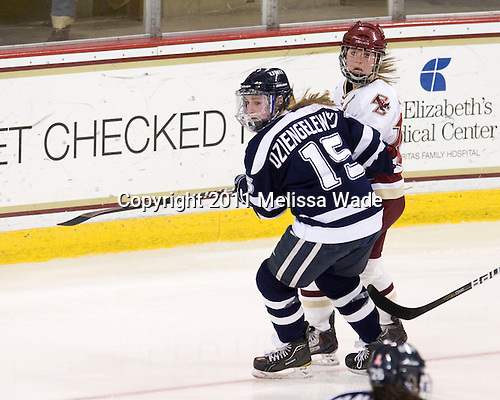 Raylen Dziengelewski (UNH - 15), Kelli Stack (BC - 16) - The Boston College Eagles and the visiting University of New Hampshire Wildcats played to a scoreless tie in BC's senior game on Saturday, February 19, 2011, at Conte Forum in Chestnut Hill, Massachusetts.