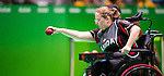 RIO DE JANEIRO - 15/09/2016 Alison Levine competes in the Individual Boccia Quarterfinal against Pornchok Larpyen at the Rio 2016 Paralympic Games at Carioca Arena 2. (Photo by Angela Burger/Canadian Paralympic Committee)