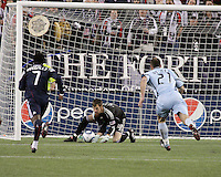 Colorado Rapids goalkeeper Matt Pickens (18) makes an easy save in the second half.  The Colorado Rapids defeated the New England Revolution, 2-1, at Gillette Stadium on April 24.2010