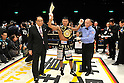 Takashi Uchiyama (JPN),..DECEMBER 31, 2011 - Boxing :..Takashi Uchiyama of Japan celebrates with his champion belt after winning the WBA super featherweight title bout at Yokohama Cultural Gymnasium in Kanagawa, Japan. (Photo by Hiroaki Yamaguchi/AFLO)