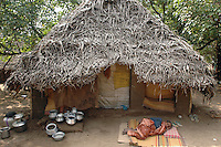 Thatched hut by the beach. East Coast. Tamil Nadu.