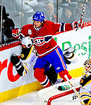 22 November 2008: Montreal Canadiens' center Robert Lang from the Czech Republic checks Boston Bruins' defenseman and Team Captain Zdeno Chara into the boards during the first period at the Bell Centre in Montreal, Quebec, Canada.  After a 2-2 regulation tie and a non-scoring 5-minute overtime period, the Boston Bruins scored the lone shootout goal thus defeating the Canadiens 3-2. The Canadiens, celebrating their 100th season, honored former Montreal goaltender Patrick Roy, and retired his jersey (Number 33) during pre-game ceremonies. ***** Editorial Use Only *****..Mandatory Photo Credit: Ed Wolfstein Photo *** Editorial Sales through Icon Sports Media *** www.iconsportsmedia.com