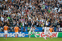 CARSON, CA-DECEMBER 1, 2012 -  Landon Donovan celebrates the winning goal during the 2012 MLS Cup Championship at the Home Depot Center in Carson, CA.  The LA Galaxy defeated the visiting Houston Dynamo 2-1 to repeat as Cup champions.