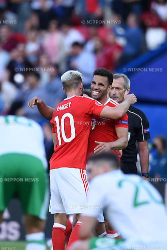Aaron Ramsey (Wales)Hal Robson-Kanu (Wales) ; <br /> June 25, 2016- Football : Uefa Euro France 2016, Round of 16, Wales 1-0 Northern Ireland at Stade Parc des Princes, Paris, France. (Photo by aicfoto/AFLO)