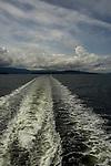 Ships wake leaving the harbour of Nanaimo, Vancouver Island, British Columbia, Canada.