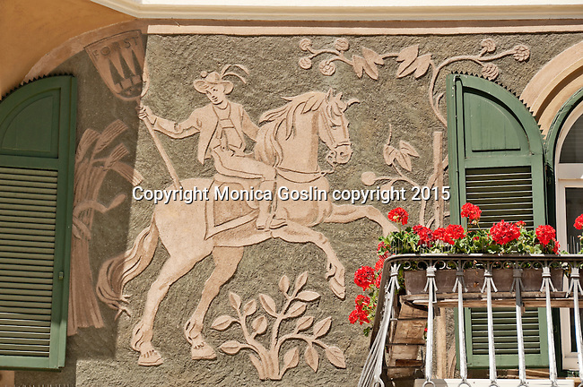 Sgrafitto technique used on facade of a building in the historical downtown
