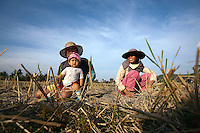 January 9th, 2009_KEP, CAMBODIA_ Farmers and their children on a country road near the Cambodian town of Kep.  Photographer: Daniel J. Groshong/Tayo Photo Group.