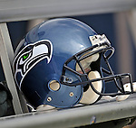 7 September 2008:  A Seattle Seahawks' helmet lies on the sideline bench during a game against the Buffalo Bills at Ralph Wilson Stadium in Orchard Park, NY. The Bills defeated the Seahawks 34-10 in the season opening game...Mandatory Photo Credit: Ed Wolfstein Photo
