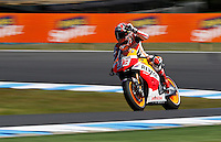 Honda MotoGP rider Marc Marquez of Spain greets after qualifying session at the Australian Motorcycle GP in Phillip Island, Oct 19, 2013. Photo by Daniel Munoz/VIEWpress IMAGE RESTRICTED TO EDITORIAL USE ONLY- STRICTLY NO COMMERCIAL USE.