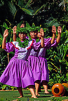 A line of female hula dancers wearing traditional dress dance with palms raised at Lanikuhonua on Oahu's leeward side.