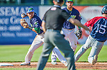 29 June 2014:  Vermont Lake Monsters infielder Yairo Munoz in action against the Lowell Spinners at Centennial Field in Burlington, Vermont. The Lake Monsters fell to the Spinners 7-5 in NY Penn League action. Mandatory Credit: Ed Wolfstein Photo *** RAW Image File Available ****